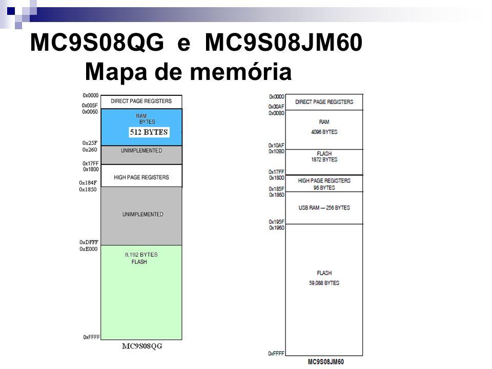 MC9S08QG e MC9S08JM60 Mapa de memória