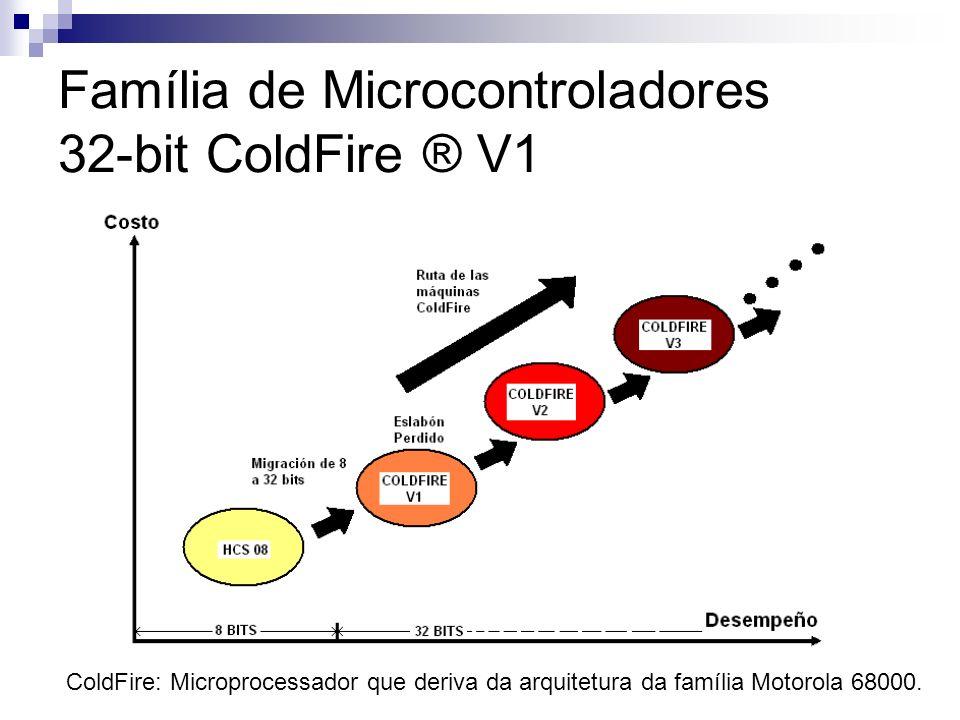 Família de Microcontroladores 32-bit ColdFire ® V1 ColdFire: Microprocessador que deriva da arquitetura da família Motorola 68000.