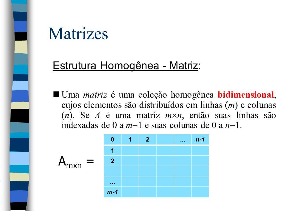 Matrizes Estrutura Homogênea - Matriz: nUma matriz é uma coleção homogênea bidimensional, cujos elementos são distribuídos em linhas (m) e colunas (n)