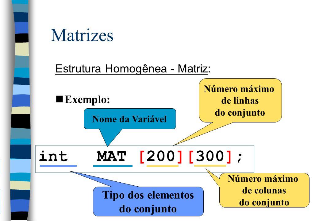 Matrizes Estrutura Homogênea - Matriz: nCada variável indexada é associada à uma posição de memória, como acontece com variáveis simples.
