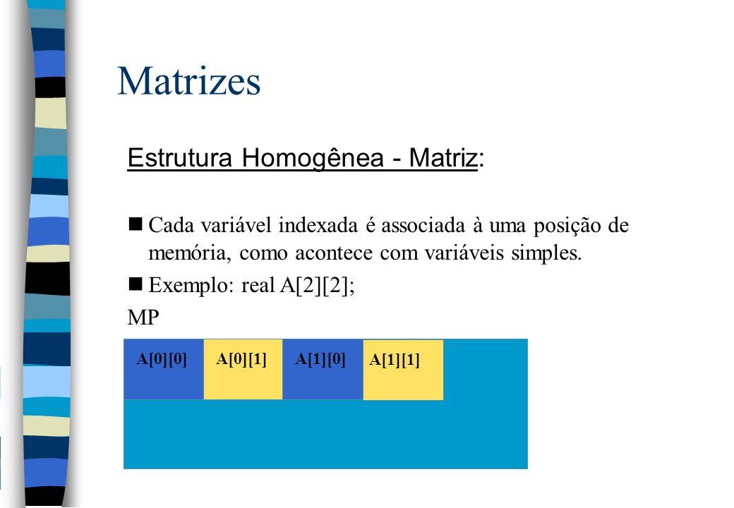 Matrizes Estrutura Homogênea - Matriz: nCada variável indexada é associada à uma posição de memória, como acontece com variáveis simples. nExemplo: re