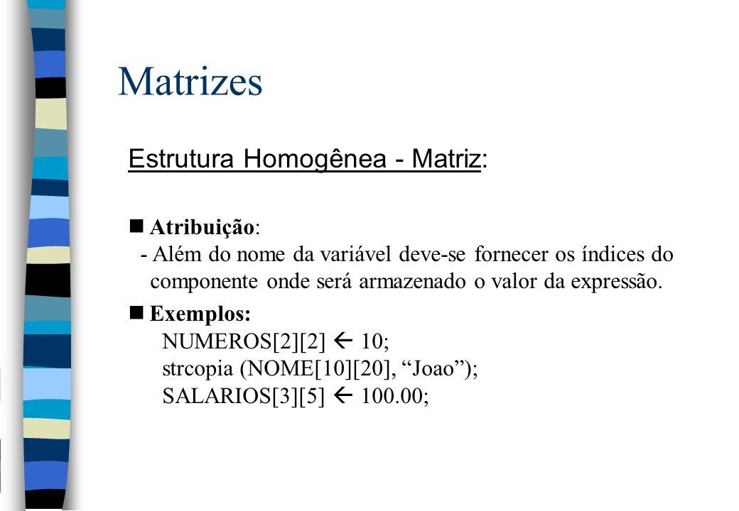 Matrizes Estrutura Homogênea - Matriz: Atribuição: - Além do nome da variável deve-se fornecer os índices do componente onde será armazenado o valor da expressão.