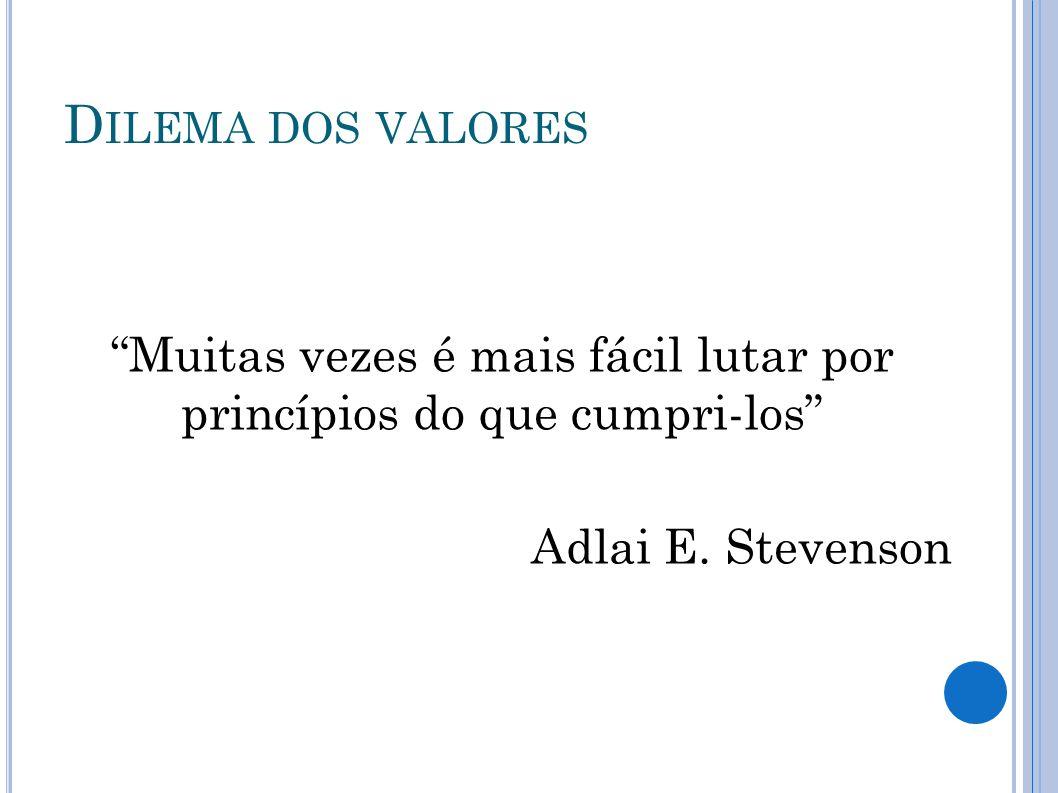 D ILEMA DOS VALORES Muitas vezes é mais fácil lutar por princípios do que cumpri-los Adlai E. Stevenson