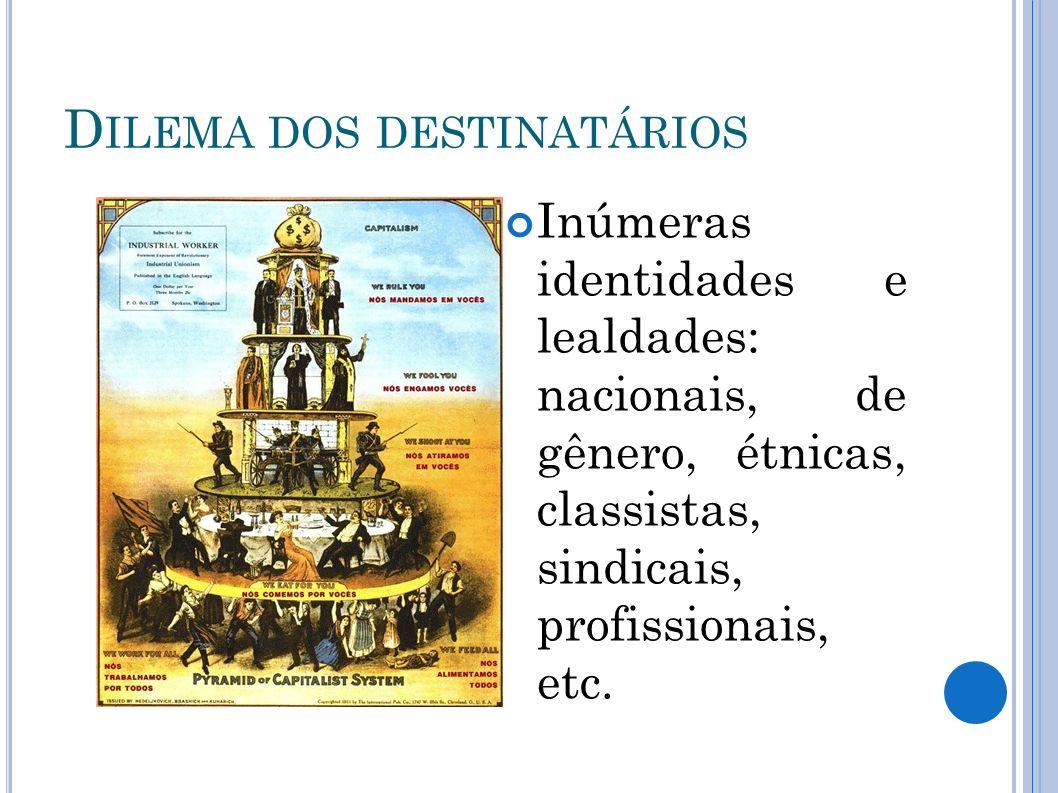 D ILEMA DOS DESTINATÁRIOS Inúmeras identidades e lealdades: nacionais, de gênero, étnicas, classistas, sindicais, profissionais, etc.