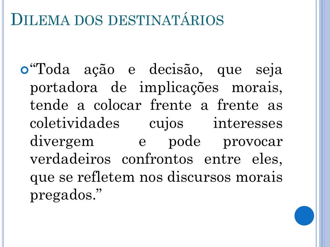 D ILEMA DOS DESTINATÁRIOS Toda ação e decisão, que seja portadora de implicações morais, tende a colocar frente a frente as coletividades cujos intere
