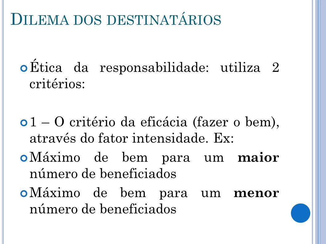 D ILEMA DOS DESTINATÁRIOS Ética da responsabilidade: utiliza 2 critérios: 1 – O critério da eficácia (fazer o bem), através do fator intensidade. Ex: