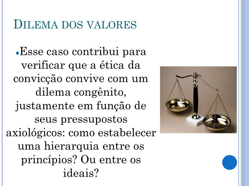 D ILEMA DOS M EIOS Ética da responsabilidade: Os meios ilegítimos podem ser utilizados para alcançar ideais, implementar princípios ou até alcançar o máximo de bem para o maior número.