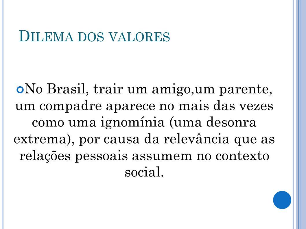 D ILEMA DOS VALORES No Brasil, trair um amigo,um parente, um compadre aparece no mais das vezes como uma ignomínia (uma desonra extrema), por causa da