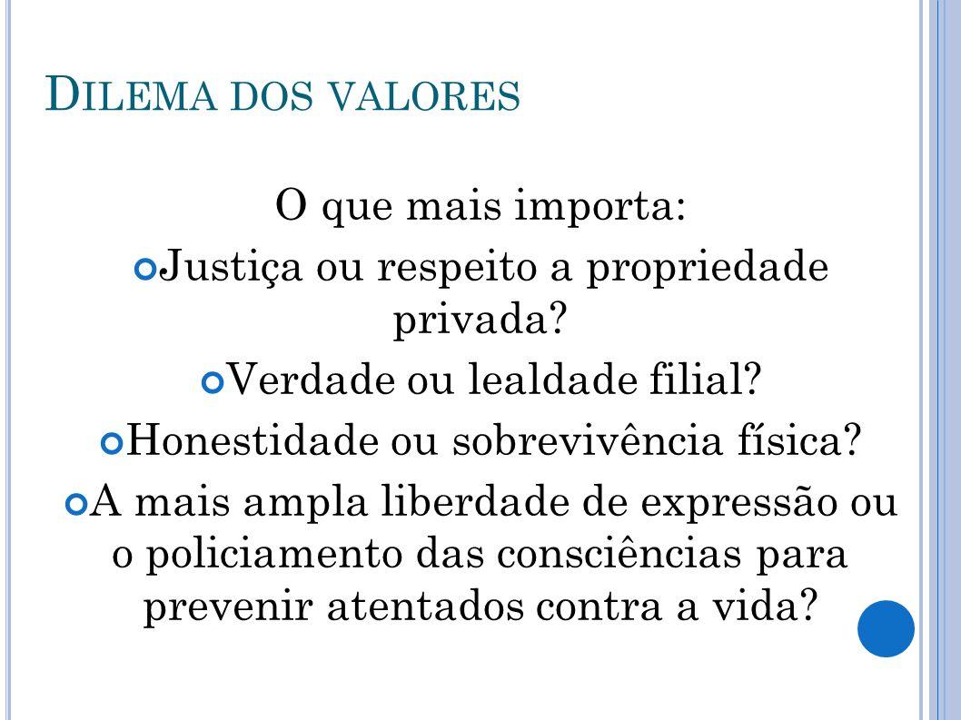 D ILEMA DOS VALORES O que mais importa: Justiça ou respeito a propriedade privada? Verdade ou lealdade filial? Honestidade ou sobrevivência física? A