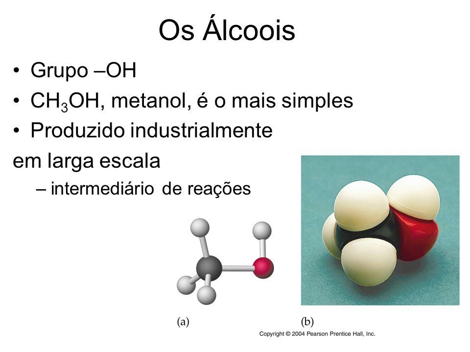 10 C 2 H 5 OH, etanol Preparado industrialmente e por fermentação
