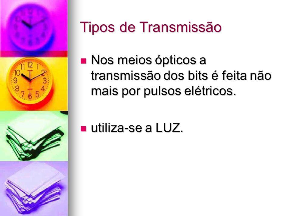 Tipos de Transmissão Nos meios ópticos a transmissão dos bits é feita não mais por pulsos elétricos. Nos meios ópticos a transmissão dos bits é feita