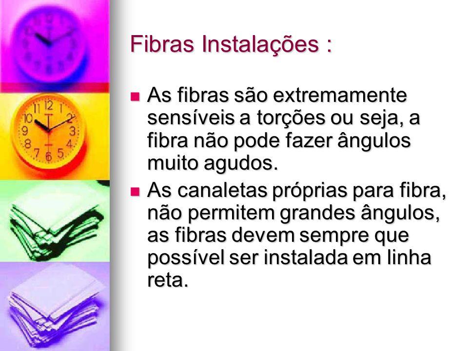 Fibras Instalações : As fibras são extremamente sensíveis a torções ou seja, a fibra não pode fazer ângulos muito agudos. As fibras são extremamente s