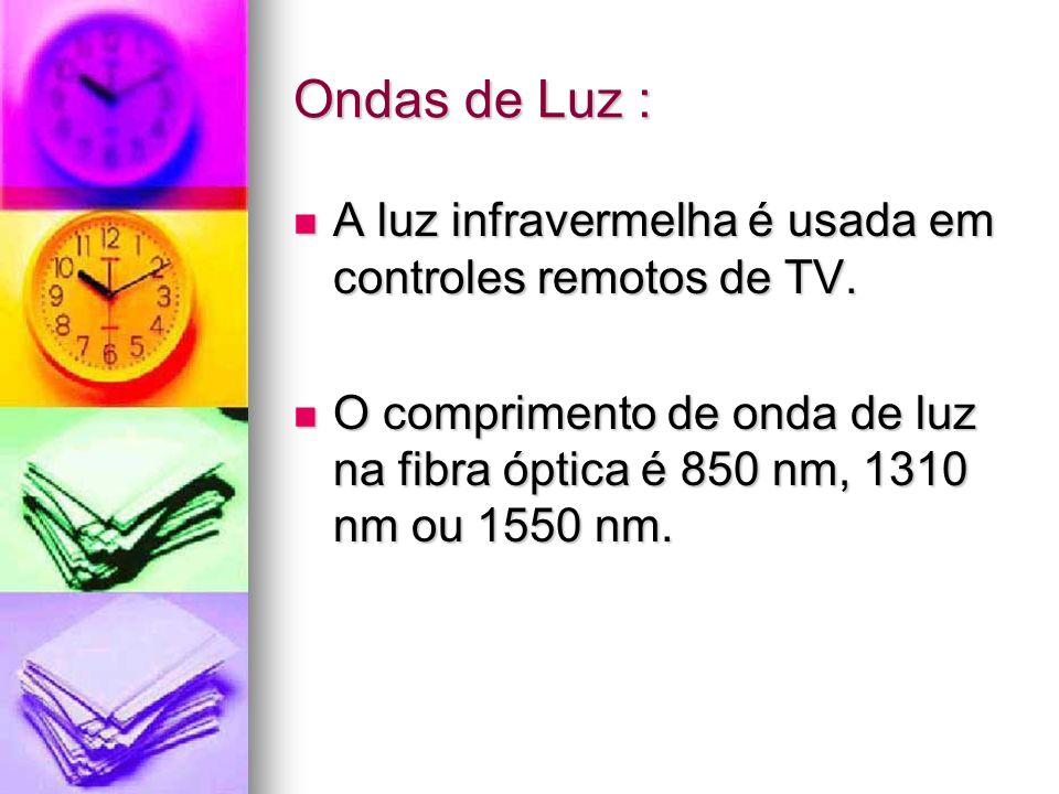 Ondas de Luz : A luz infravermelha é usada em controles remotos de TV. A luz infravermelha é usada em controles remotos de TV. O comprimento de onda d