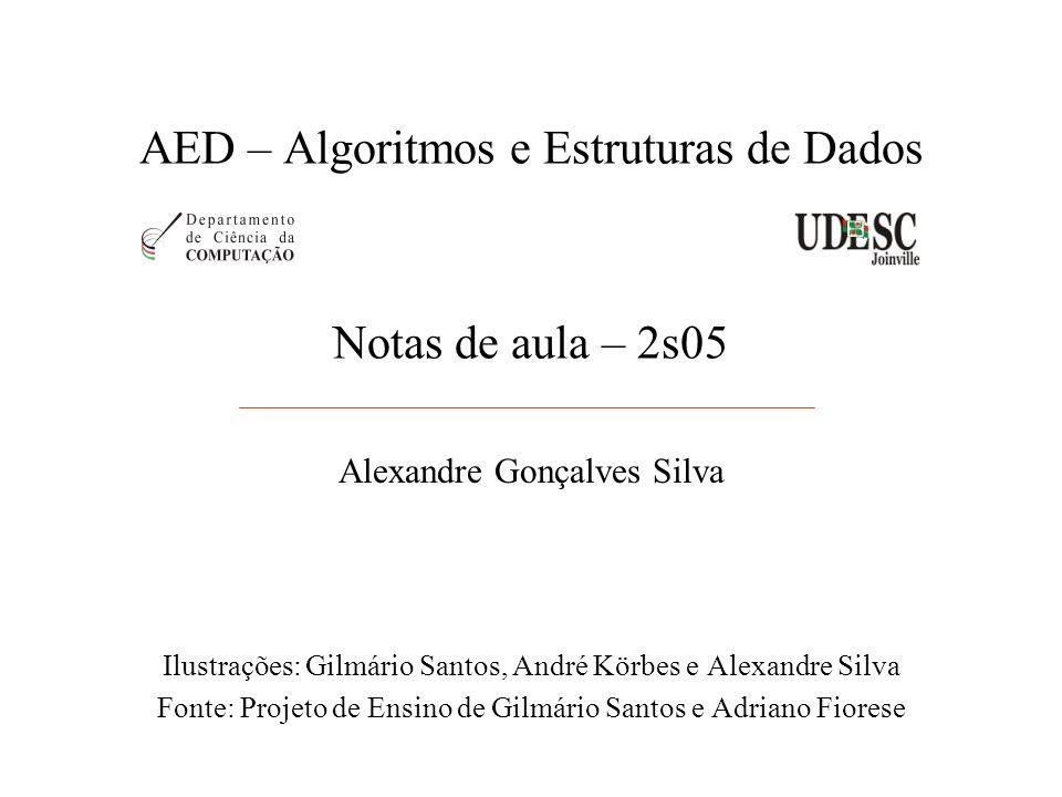 AED – Algoritmos e Estruturas de Dados Alexandre Gonçalves Silva Ilustrações: Gilmário Santos, André Körbes e Alexandre Silva Fonte: Projeto de Ensino