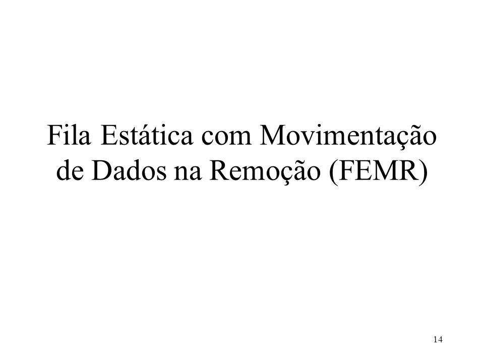 14 Fila Estática com Movimentação de Dados na Remoção (FEMR)