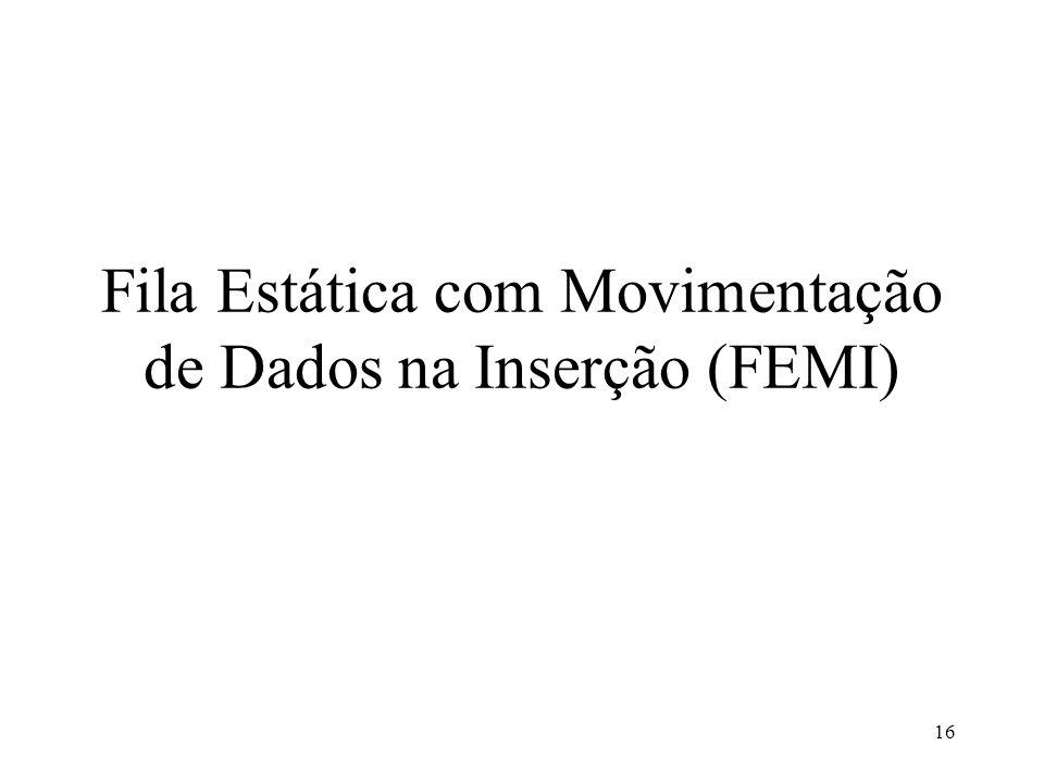 16 Fila Estática com Movimentação de Dados na Inserção (FEMI)