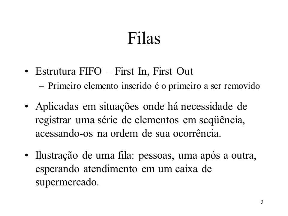 3 Filas Estrutura FIFO – First In, First Out –Primeiro elemento inserido é o primeiro a ser removido Aplicadas em situações onde há necessidade de reg