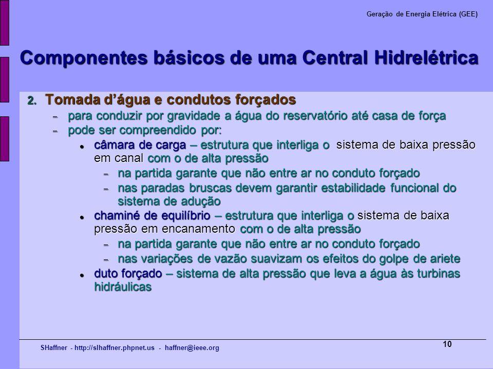 SHaffner - http://slhaffner.phpnet.us - haffner@ieee.org Geração de Energia Elétrica (GEE) 10 Componentes básicos de uma Central Hidrelétrica 2. Tomad