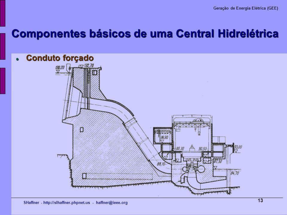 SHaffner - http://slhaffner.phpnet.us - haffner@ieee.org Geração de Energia Elétrica (GEE) 13 Componentes básicos de uma Central Hidrelétrica Conduto