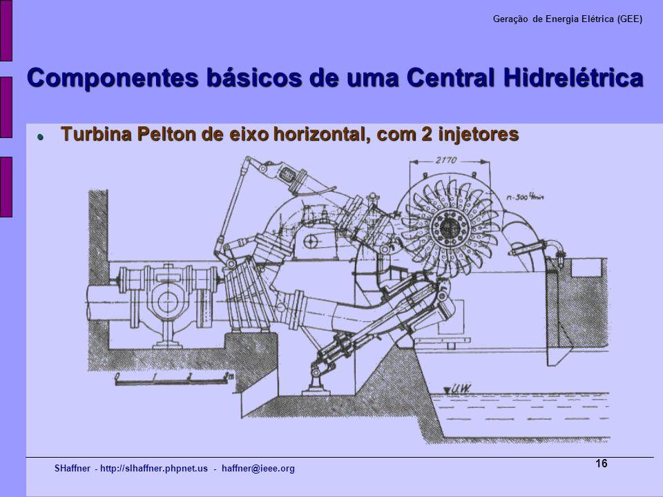 SHaffner - http://slhaffner.phpnet.us - haffner@ieee.org Geração de Energia Elétrica (GEE) 16 Componentes básicos de uma Central Hidrelétrica Turbina
