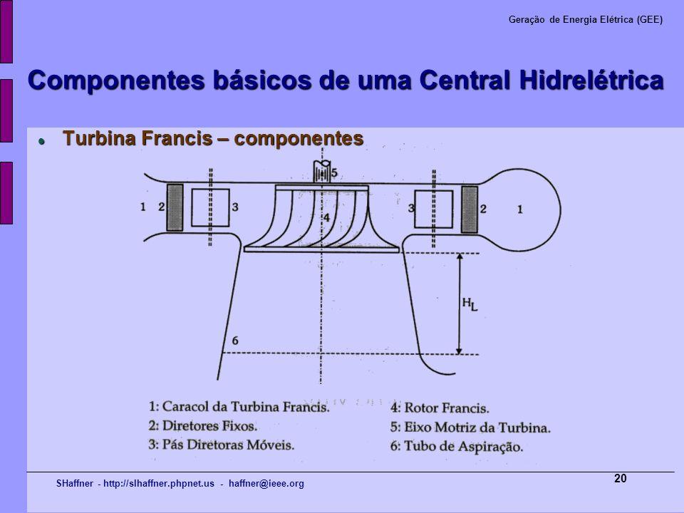SHaffner - http://slhaffner.phpnet.us - haffner@ieee.org Geração de Energia Elétrica (GEE) 20 Componentes básicos de uma Central Hidrelétrica Turbina