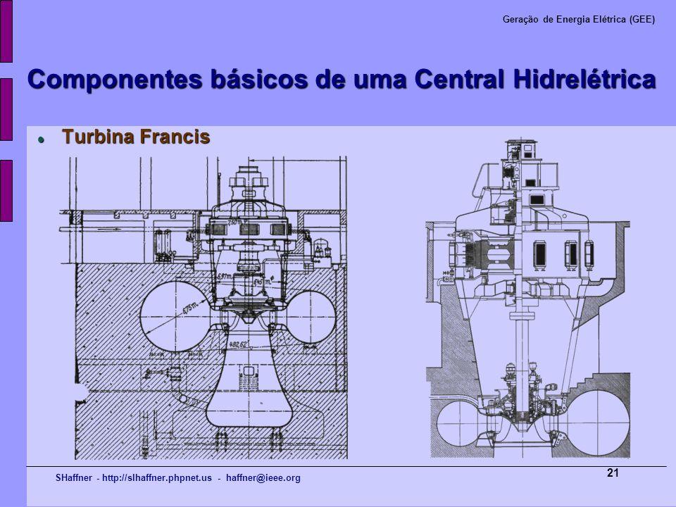SHaffner - http://slhaffner.phpnet.us - haffner@ieee.org Geração de Energia Elétrica (GEE) 21 Componentes básicos de uma Central Hidrelétrica Turbina