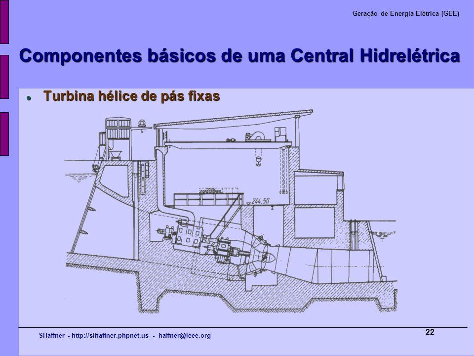 SHaffner - http://slhaffner.phpnet.us - haffner@ieee.org Geração de Energia Elétrica (GEE) 22 Componentes básicos de uma Central Hidrelétrica Turbina