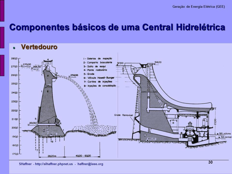 SHaffner - http://slhaffner.phpnet.us - haffner@ieee.org Geração de Energia Elétrica (GEE) 30 Componentes básicos de uma Central Hidrelétrica Vertedou