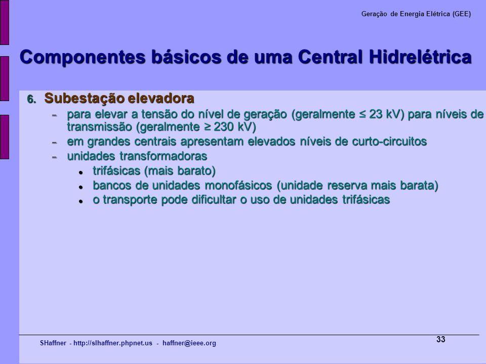 SHaffner - http://slhaffner.phpnet.us - haffner@ieee.org Geração de Energia Elétrica (GEE) 33 Componentes básicos de uma Central Hidrelétrica 6. Subes