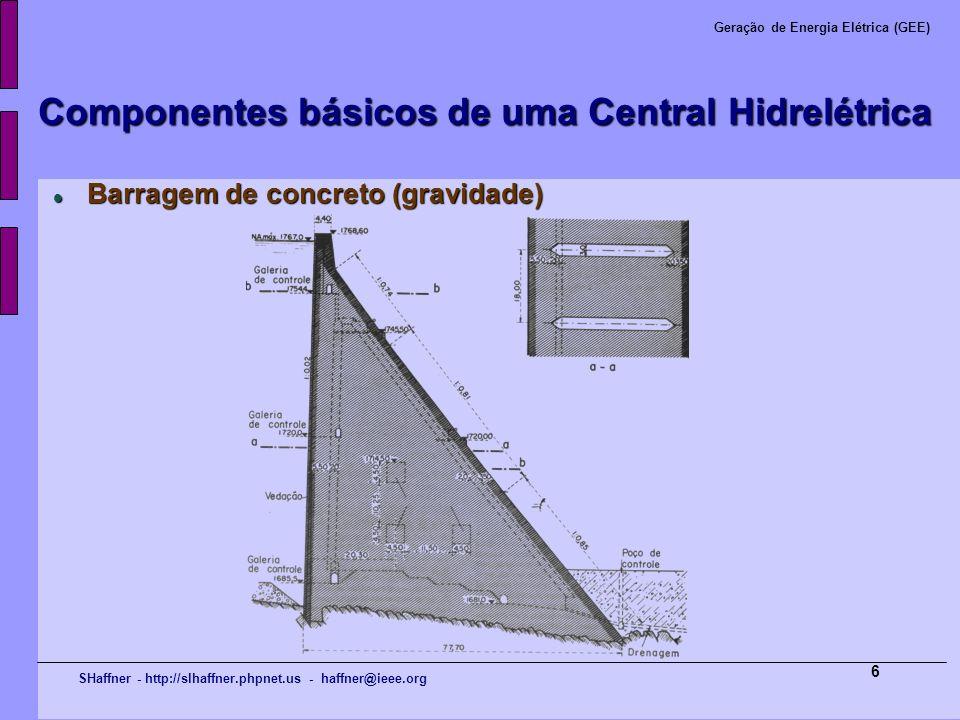 SHaffner - http://slhaffner.phpnet.us - haffner@ieee.org Geração de Energia Elétrica (GEE) 17 Componentes básicos de uma Central Hidrelétrica Turbina Pelton de eixo vertical, com 6 injetores Turbina Pelton de eixo vertical, com 6 injetores