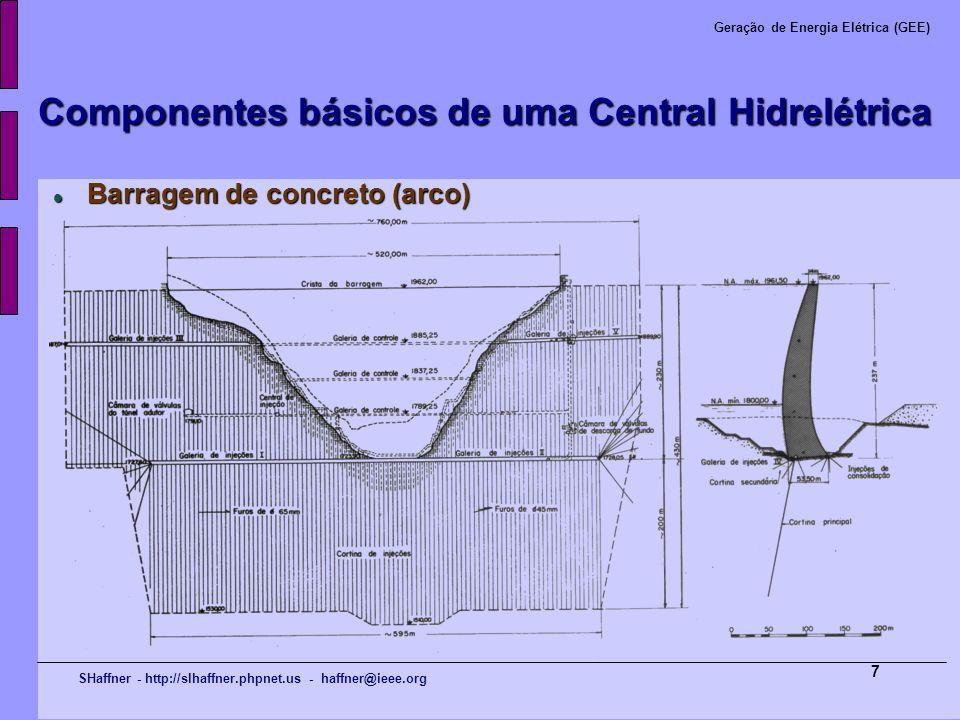 SHaffner - http://slhaffner.phpnet.us - haffner@ieee.org Geração de Energia Elétrica (GEE) 7 Componentes básicos de uma Central Hidrelétrica Barragem