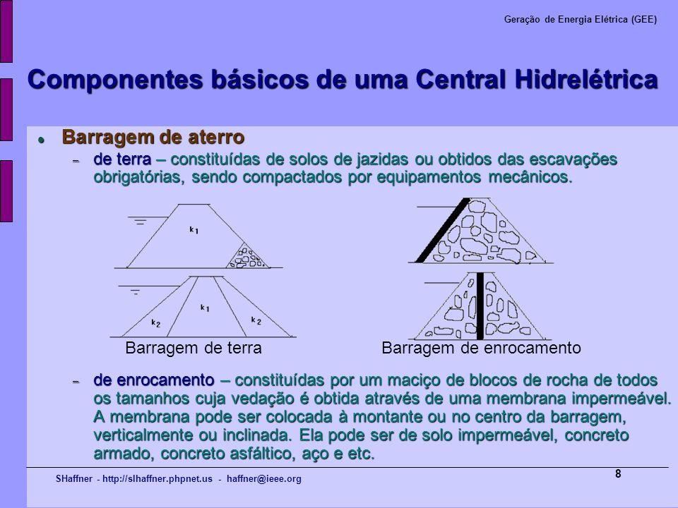 SHaffner - http://slhaffner.phpnet.us - haffner@ieee.org Geração de Energia Elétrica (GEE) 8 Componentes básicos de uma Central Hidrelétrica Barragem
