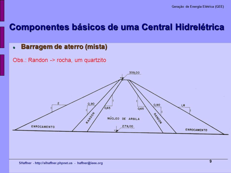 SHaffner - http://slhaffner.phpnet.us - haffner@ieee.org Geração de Energia Elétrica (GEE) 9 Componentes básicos de uma Central Hidrelétrica Barragem