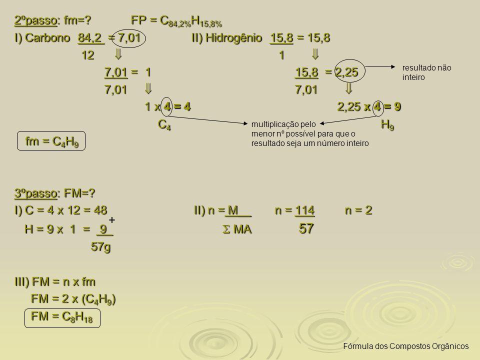 2ºpasso: fm=? FP = C 84,2% H 15,8% I) Carbono 84,2 = 7,01 II) Hidrogênio 15,8 = 15,8 12 1 12 1 7,01 = 1 15,8 = 2,25 7,01 = 1 15,8 = 2,25 7,01 7,01 7,0