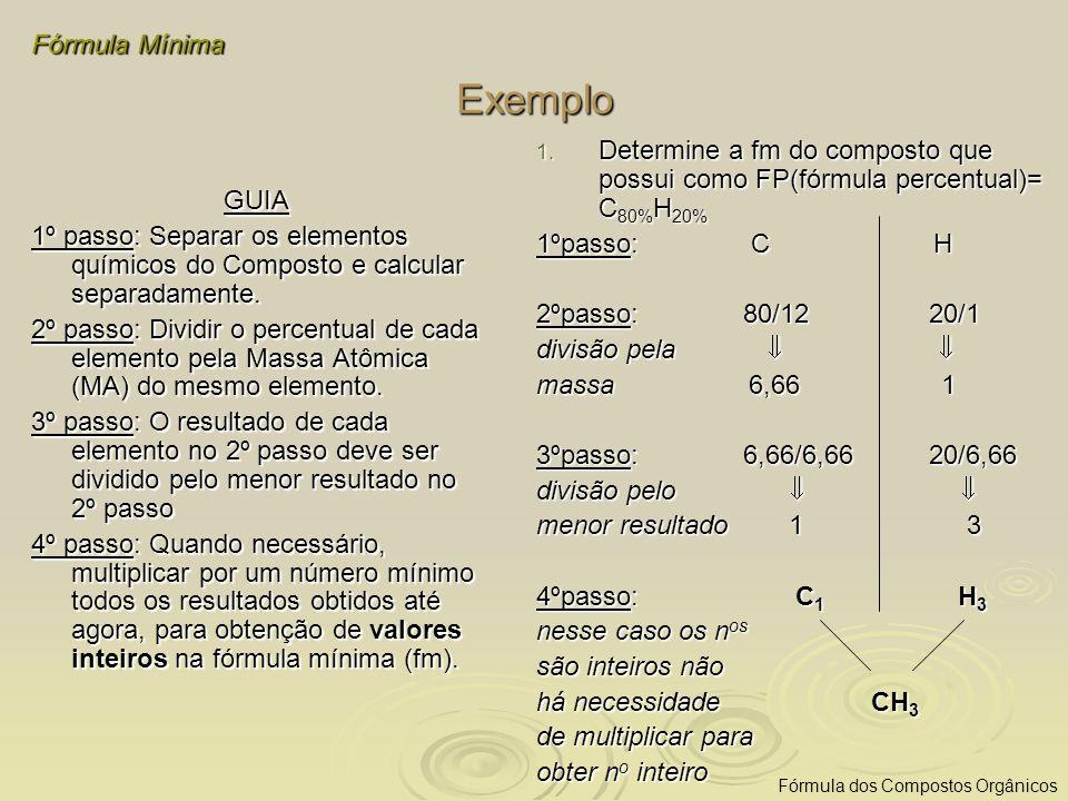 Exemplo GUIA 1º passo: Separar os elementos químicos do Composto e calcular separadamente. 2º passo: Dividir o percentual de cada elemento pela Massa