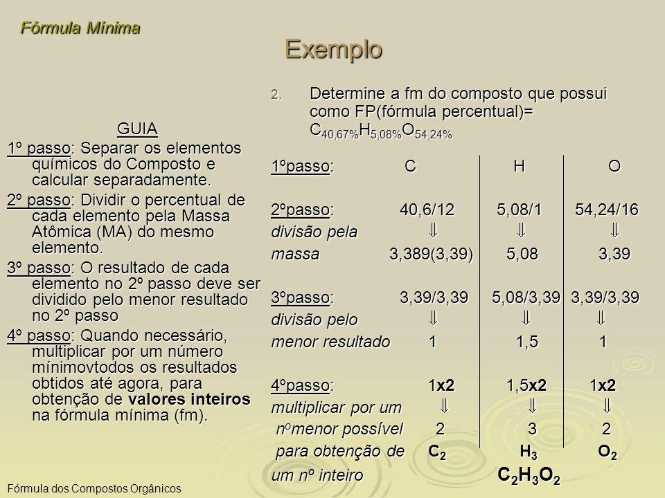 Exemplo Fórmula Mínima Fórmula dos Compostos Orgânicos GUIA 1º passo: Separar os elementos químicos do Composto e calcular separadamente. 2º passo: Di