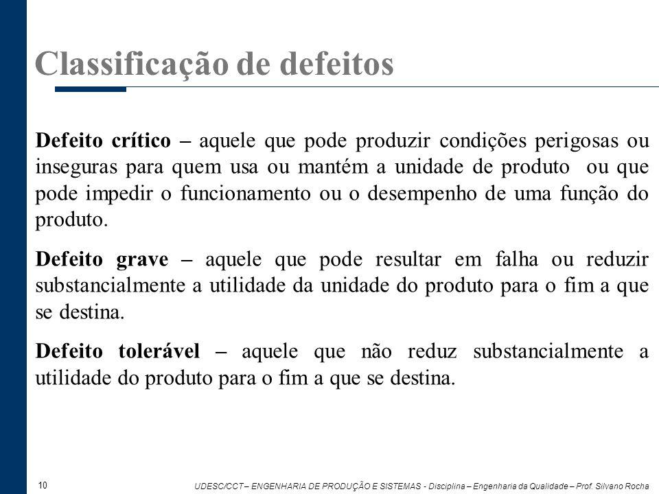 10 UDESC/CCT – ENGENHARIA DE PRODUÇÃO E SISTEMAS - Disciplina – Engenharia da Qualidade – Prof. Silvano Rocha Classificação de defeitos Defeito crític