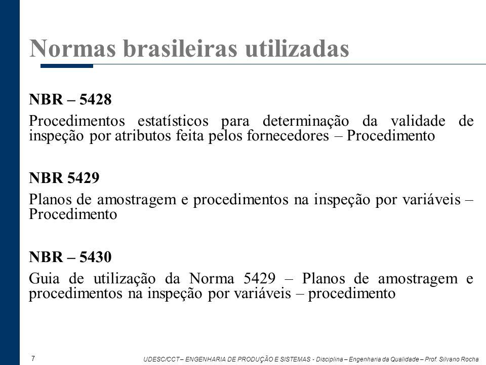 7 UDESC/CCT – ENGENHARIA DE PRODUÇÃO E SISTEMAS - Disciplina – Engenharia da Qualidade – Prof. Silvano Rocha NBR – 5428 Procedimentos estatísticos par