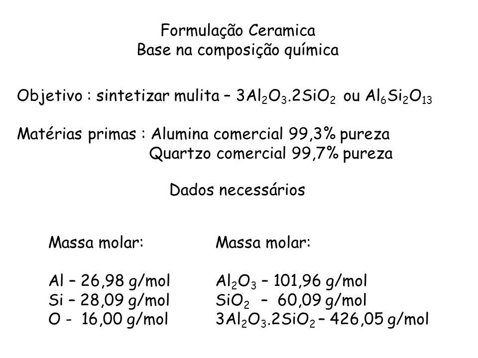 Formulação Ceramica Base na composição química Objetivo : sintetizar mulita – 3Al 2 O 3.2SiO 2 ou Al 6 Si 2 O 13 Matérias primas : Alumina comercial 9