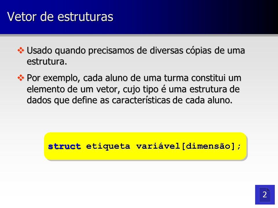 Vetor de estruturas vUsado quando precisamos de diversas cópias de uma estrutura. vPor exemplo, cada aluno de uma turma constitui um elemento de um ve