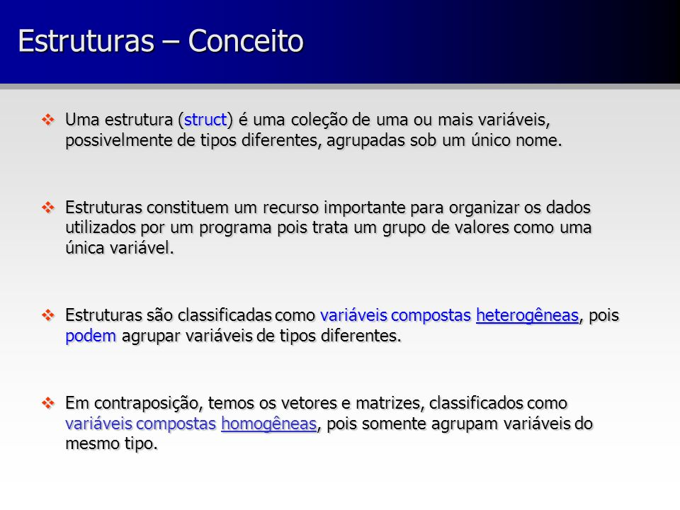 Espaço alocado para uma estrutura struct aluno { char nome[4]; /* array 4 bytes */ short idade; /* 2 bytes */ char matricula[8]; /* array 8 bytes */ }; struct aluno al; Strcpy(al.nome, Rui); al.idade = 30; strcpy(al.matricula, 00/0001 ); struct aluno { char nome[4]; /* array 4 bytes */ short idade; /* 2 bytes */ char matricula[8]; /* array 8 bytes */ }; struct aluno al; Strcpy(al.nome, Rui); al.idade = 30; strcpy(al.matricula, 00/0001 );