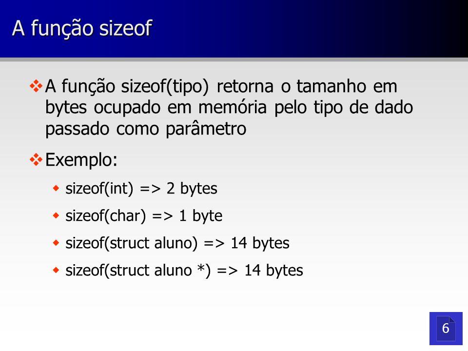 A função sizeof v vA função sizeof(tipo) retorna o tamanho em bytes ocupado em memória pelo tipo de dado passado como parâmetro v vExemplo: w wsizeof(