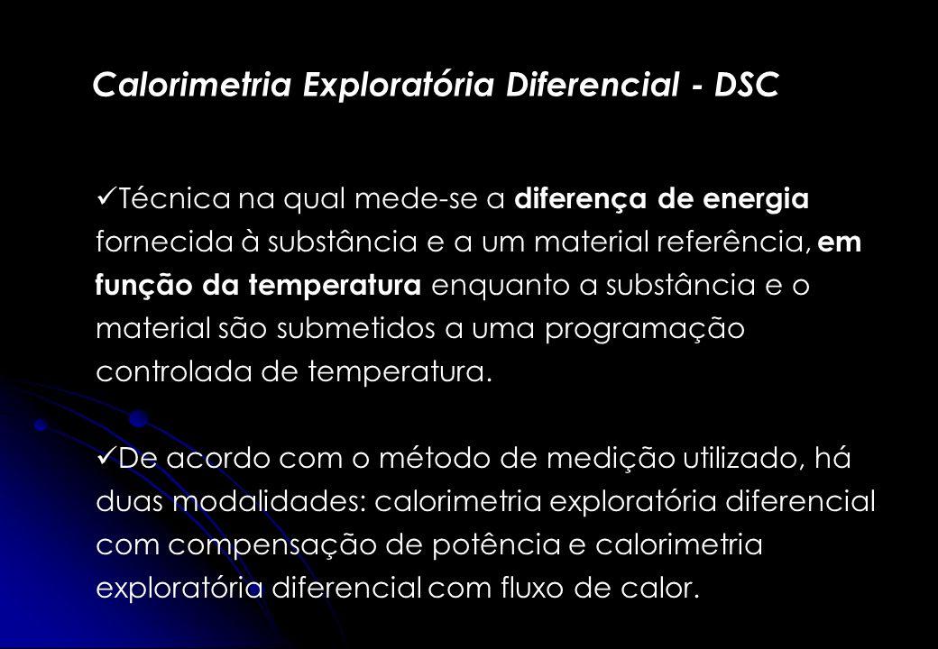 Calorimetria Exploratória Diferencial - DSC Técnica na qual mede-se a diferença de energia fornecida à substância e a um material referência, em funçã