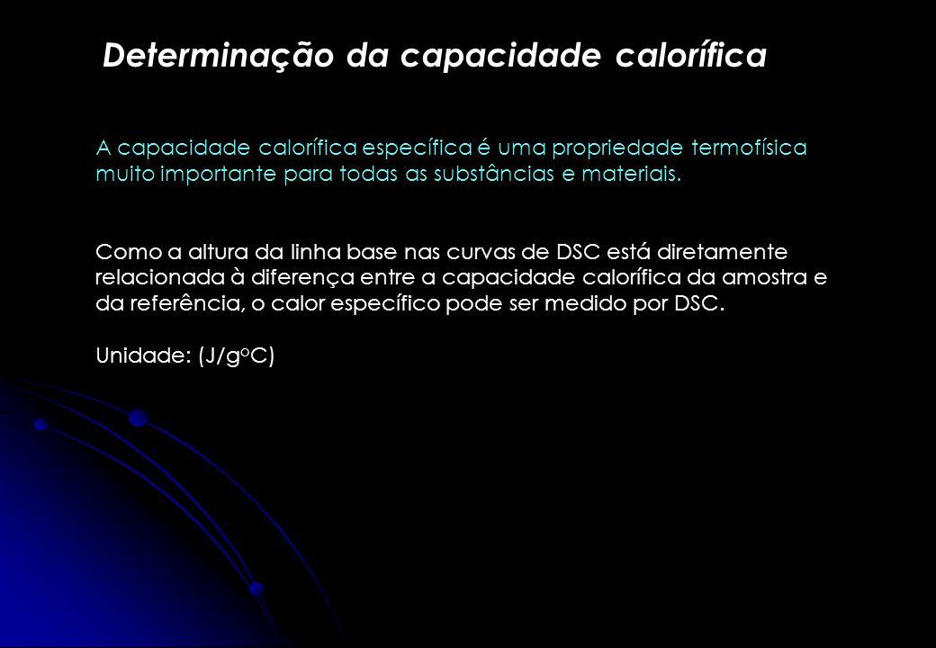 Determinação da capacidade calorífica A capacidade calorífica específica é uma propriedade termofísica muito importante para todas as substâncias e ma