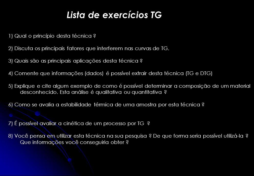 Lista de exercícios TG 1) Qual o princípio desta técnica ? 2) Discuta os principais fatores que interferem nas curvas de TG. 3) Quais são as principai