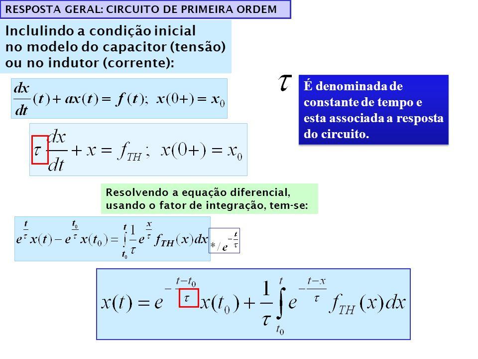 CIRCUITOS DE PRIMEIRA ORDEM COM FONTES CONSTANTES A forma da solução é: Qualquer variável do circuito é da forma: Somente os valores das constantes K 1, K 2 podem mudar TRANSIENTETEMPO CONSTANTE