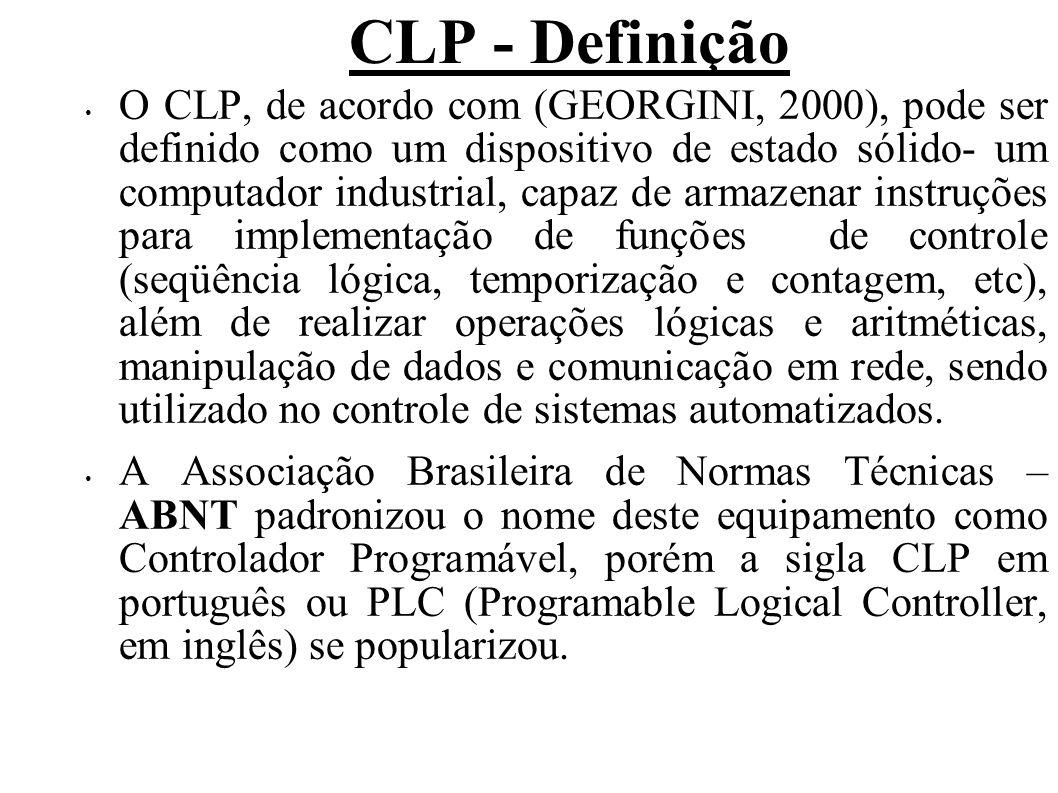 CLP - Definição O CLP, de acordo com (GEORGINI, 2000), pode ser definido como um dispositivo de estado sólido- um computador industrial, capaz de arma