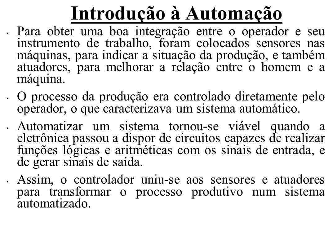 Introdução à Automação Para obter uma boa integração entre o operador e seu instrumento de trabalho, foram colocados sensores nas máquinas, para indic