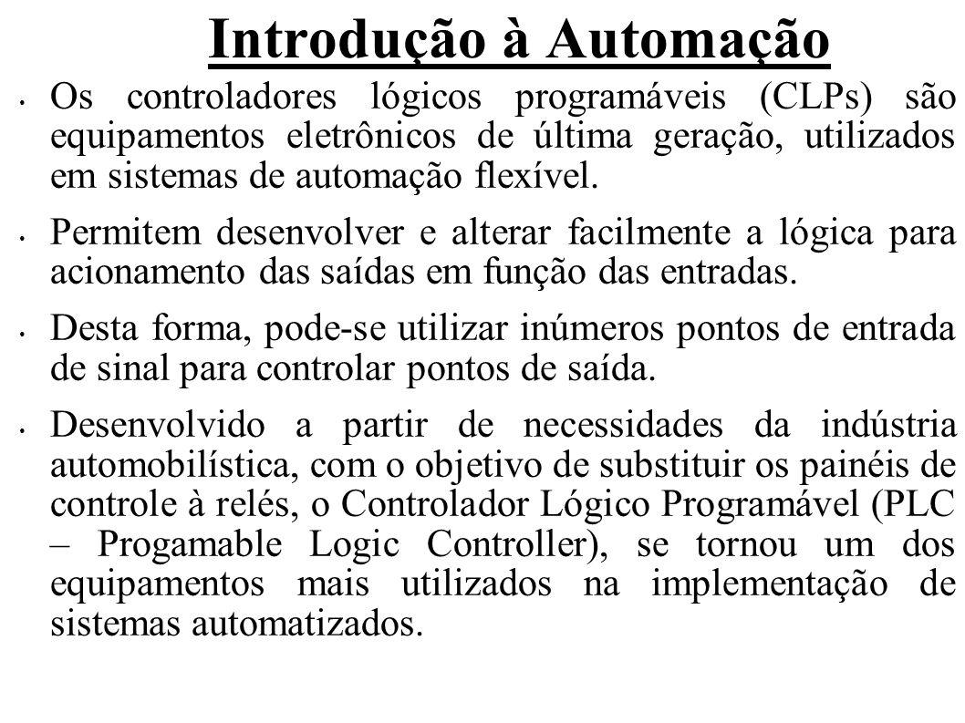Introdução à Automação Os controladores lógicos programáveis (CLPs) são equipamentos eletrônicos de última geração, utilizados em sistemas de automaçã