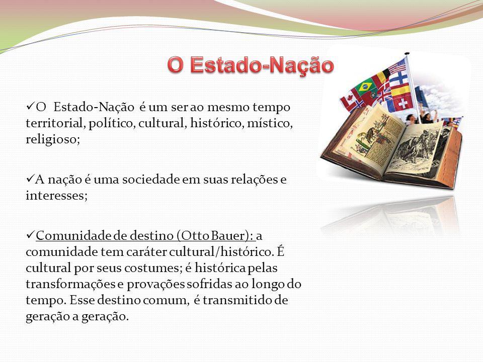 O Estado-Nação é um ser ao mesmo tempo territorial, político, cultural, histórico, místico, religioso; A nação é uma sociedade em suas relações e inte
